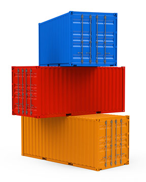 Three stacked containers in yellow, red and blue colors from the bottom